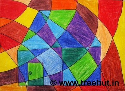 Abstract art work by children, Lucknow, India