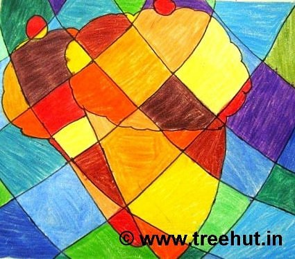 Colors in Abstract art work by children, Lucknow, India
