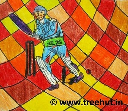 Cricketer on Abstract art background by children, Lucknow, India