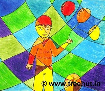 Figure with Abstract art work by children, Lucknow, India