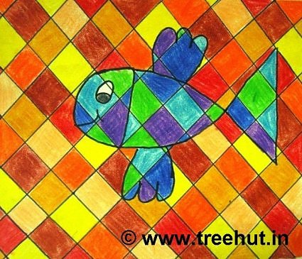 Fish on Abstract art background by children, Lucknow, India
