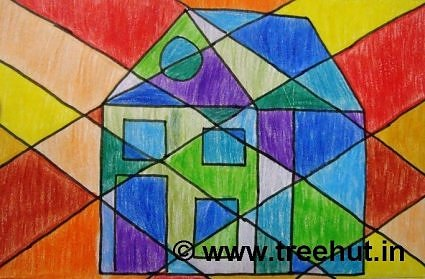 Hut with Abstract art by children, Lucknow, India