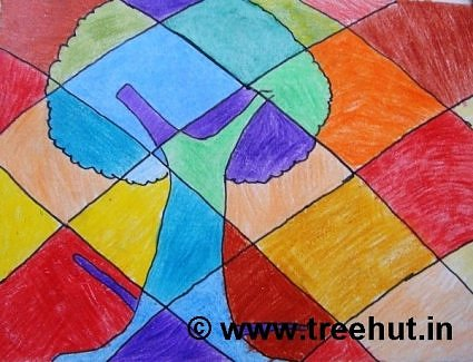 Tree on Abstract art background by children, Lucknow, India