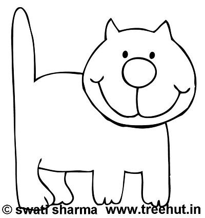Coloring page, Friendly cat