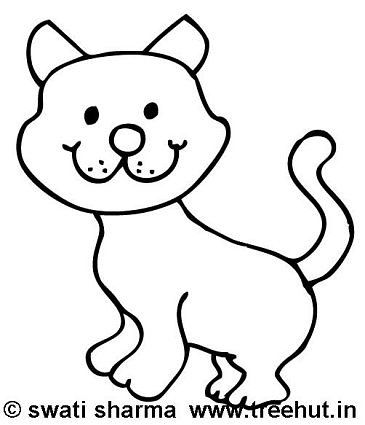 Coloring page, Happy cat