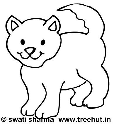 Coloring page, Playful cat
