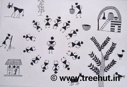 Festival in Warli art design by children, India