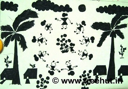 Village scene in warli art, Ancient Tribal art of India