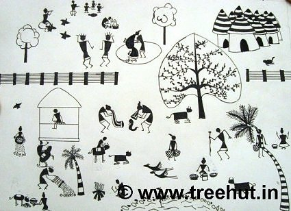 Warli art design by children, India