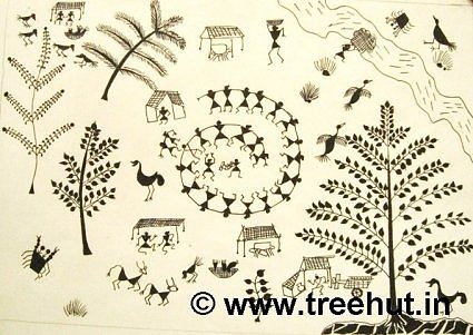 Warli art motifs by children, India