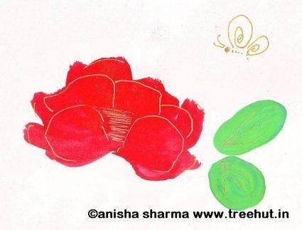 Butterfly and rose painting by Anisha Sharma
