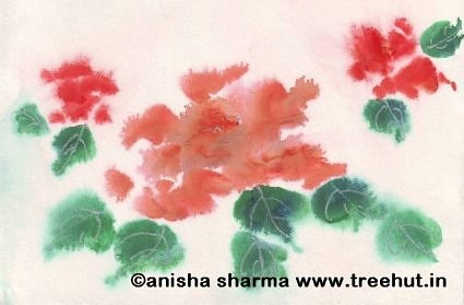 Water color red roses by Anisha Sharma