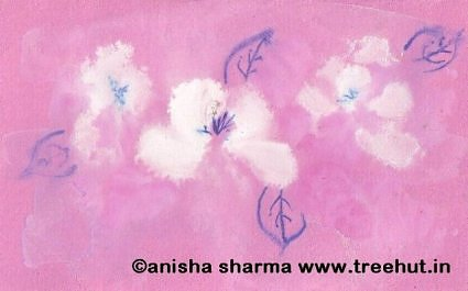 Water color white roses by Anisha Sharma