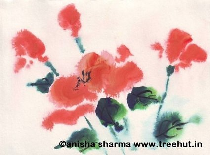 Water colour painting of roses in the garden by Anisha Sharma