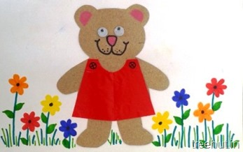 paper bear with flowers kids craft