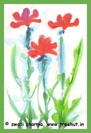 Flowers in water color art idea
