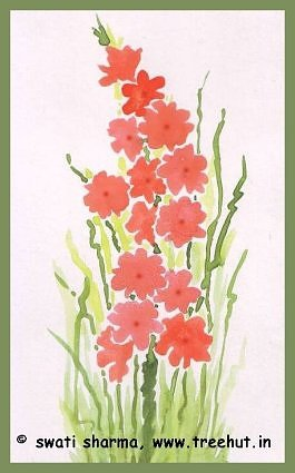 Peach wild flowers in water color art idea