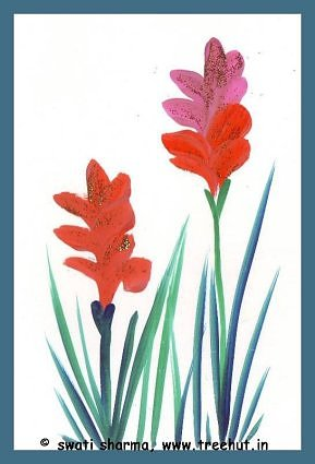 Water color wild flowers art idea