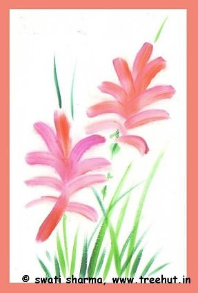 red flowers water color art idea