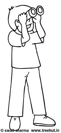 Boy with binoculars  coloring page