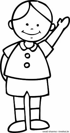Boy waving coloring page