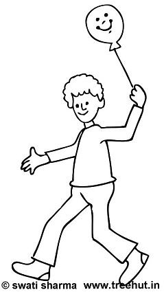 Boy with balloon coloring page