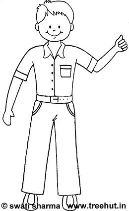 Standing boy coloring page