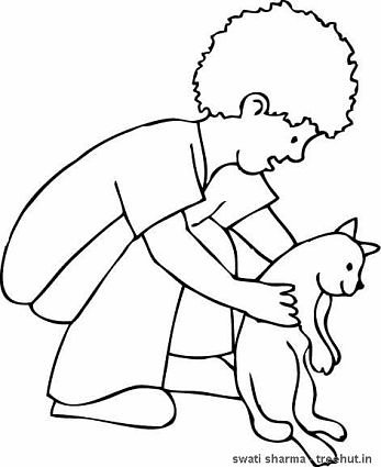 Boy with pet cat coloring page