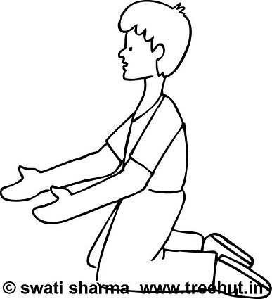 Kneeling boy coloring page
