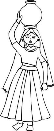 Indian village girl Rajasthan with water pot coloring page