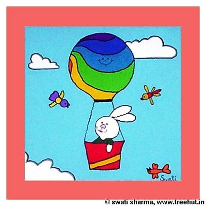 interior decor item painting for childrens room bunny in gas balloon