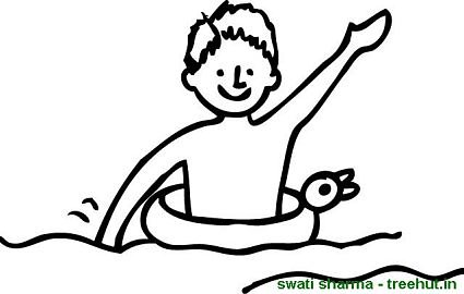 Images Of Boy Swimming Coloring Pages