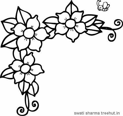 free flowers frame coloring pages