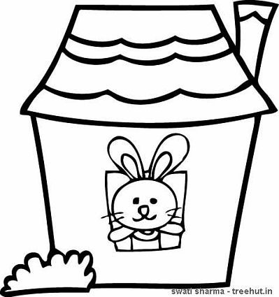 rabbit coloring page for art therapy