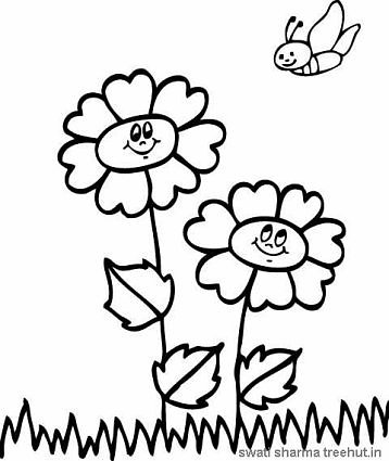 save bees flowers and bee coloring page
