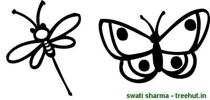 dragon fly and butterfly coloring page