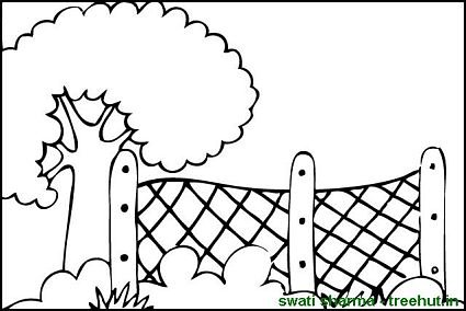 Coloring page garden with wire fence