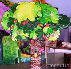 school stage apple tree backdrop