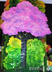 school stage pink tree backdrop decoration