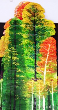 school stage trees portrait backdrop background