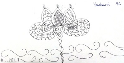 lotus flower-zentangles-patterns-by-kid La Martiniere Girls College Lucknow