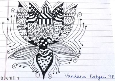 lotus zentangles-patterns-by-kid La Martiniere Girls College Lucknow
