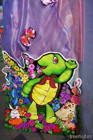 school stage backdrop flowers turtle mushroom bunny butterfly