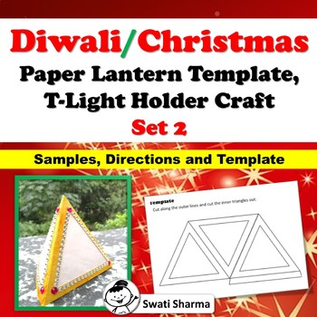 Diwali, Christmas Craft, Paper Lantern Template, T-Light Holder, Set 2