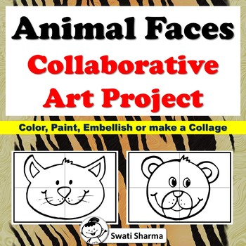 Animal Face Collaborative Art Project, Bulletin Board, No Prep Classroom Display