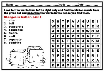 Kindergarten Science, Matter, Vocabulary, Word Search Worksheets