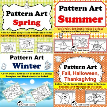 Year Long, All Seasons, Pattern Art Project, Sub Plan, Bundle, Classroom Display