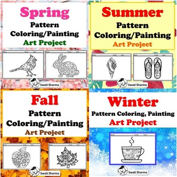 Elementary, Year Long Art Sub Plan, Pattern Coloring, Art Project, Bundle