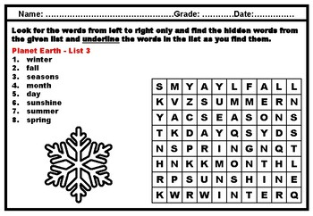 Kindergarten Science, Space Science, Vocabulary, Word Search Worksheets