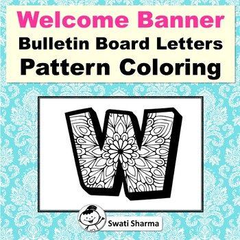 Welcome Banner, Bulletin Board Letters, for Pattern Coloring